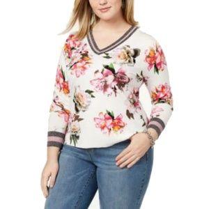 Women's Plus Size V-Neck Varsity Pullover Sweater